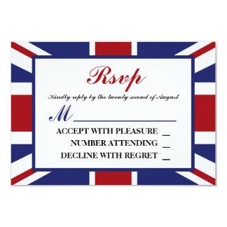 Union Jack Flag British Wedding RSVP 9 Cm X 13 Cm Invitation Card