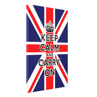 Union Jack flag keep calm and carry on Stretched Canvas Print
