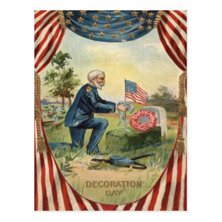 Union Soldier Tombstone Cemetery US Flag Postcard