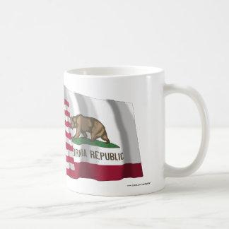 United States and California Waving Flags Basic White Mug