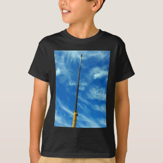 Upward view on the boom of a crane t-shirt