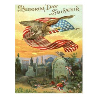 US Flag Bald Eagle Cemetery Tombstone Wreath Postcard