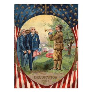US Flag Bugle Taps Cemetery Wreath Postcard