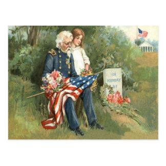 US Flag Wreath Cemetery Tombstone Flowers Postcard