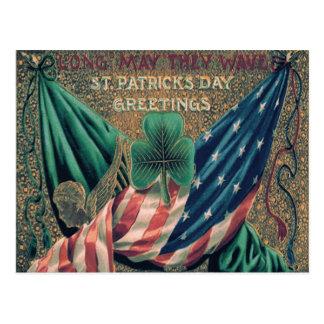 USA American Flag Irish Shamrock Postcard
