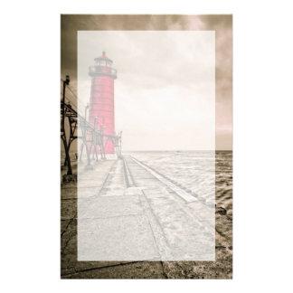 USA, Michigan, Grand Haven Lighthouse Custom Stationery