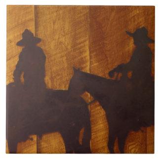 USA, Montana, Boulder River Cowboys on horses Large Square Tile