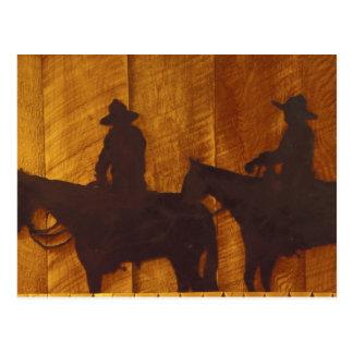 USA, Montana, Boulder River Cowboys on horses Postcard