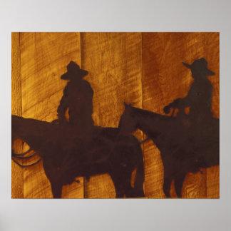 USA, Montana, Boulder River Cowboys on horses Poster
