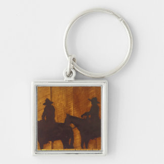 USA, Montana, Boulder River Cowboys on horses Silver-Colored Square Key Ring