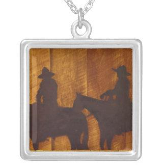 USA, Montana, Boulder River Cowboys on horses Square Pendant Necklace