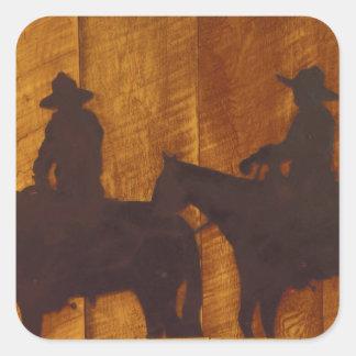 USA, Montana, Boulder River Cowboys on horses Square Sticker