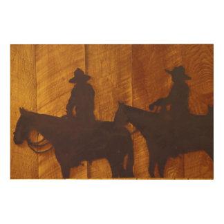 USA, Montana, Boulder River Cowboys on horses Wood Print