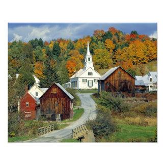 USA, Vermont, Waits River. Fall foliage adds Photo Art