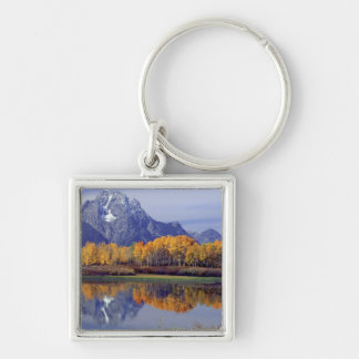 USA, Wyoming, Grand Teton National Park. Mt. Silver-Colored Square Key Ring