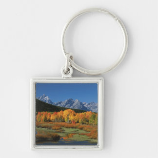 USA, Wyoming, Grand Tetons National Park in Silver-Colored Square Key Ring