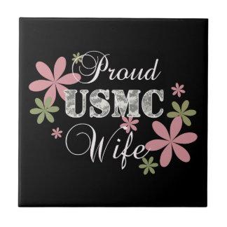 USMC Wife [fl camo] Small Square Tile