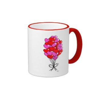 Valentine Heart Balloon Illustration Ringer Mug
