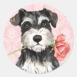 Valentine Rose Miniature Schnauzer Round Sticker