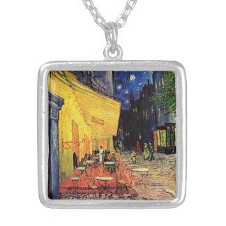 Van Gogh Cafe Terrace on Place du Forum, Fine Art Square Pendant Necklace