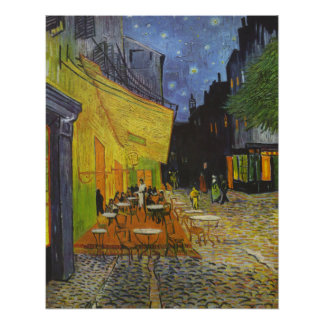 Van Gogh Cafe Terrace Post-Impressionist Painting Poster