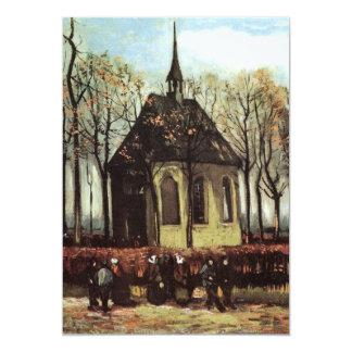 Van Gogh Congregation Leaving the Reformed Church 13 Cm X 18 Cm Invitation Card
