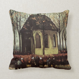 Van Gogh Congregation Leaving the Reformed Church Cushion