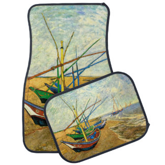 Van Gogh Fishing Boats on Beach at Saintes Maries Car Mat