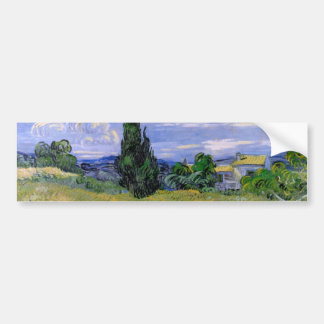 Van Gogh Green Wheat Field with Cypress, Fine Art Bumper Sticker