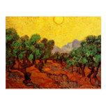 Van Gogh Olive Trees with Yellow Sky Sun, Fine Art Postcard