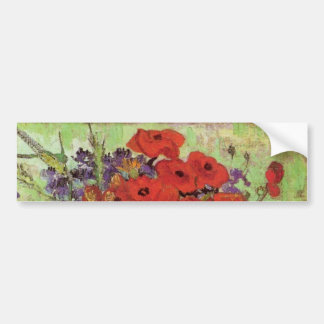 Van Gogh Red Poppies and Daisies, Fine Art Flowers Bumper Sticker