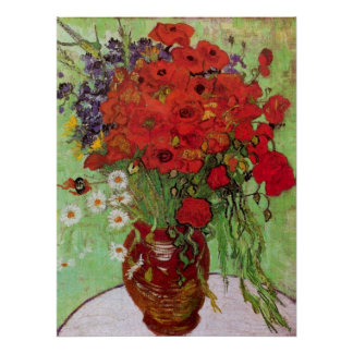 Van Gogh Red Poppies and Daisies, Fine Art Flowers Poster