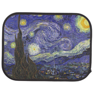 Van Gogh Starry Night, Vintage Fine Art Landscape Floor Mat