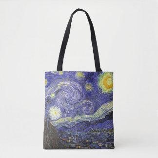 Van Gogh Starry Night, Vintage Fine Art Landscape Tote Bag