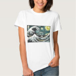 Van Gogh The Starry Night - Hokusai The Great Wave T Shirts