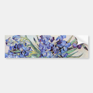 Van Gogh Vase with Irises, Vintage Floral Fine Art Bumper Sticker