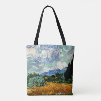 Van Gogh - Wheatfield with Cypress Tree Tote Bag