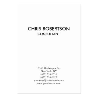 Vertical Plain Black & White Chubby Business Card