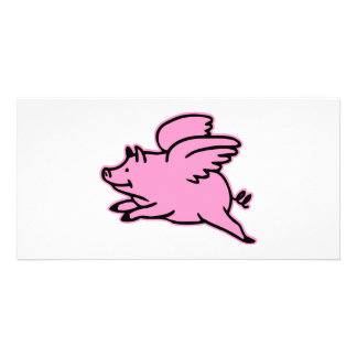 Very Cute Flying Pink Pig Picture Card