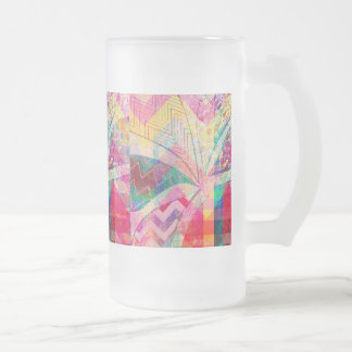 Vibrant Colorful Funky Abstract Girly Butterfly Ch Frosted Glass Mug