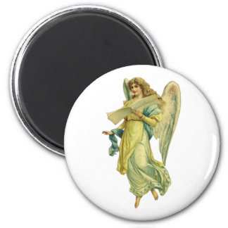 Victorian Christmas Angel, Gloria in Excelsis Deo 6 Cm Round Magnet