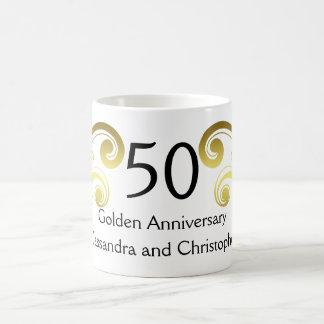 Victorian damask swirls golden wedding anniversary basic white mug