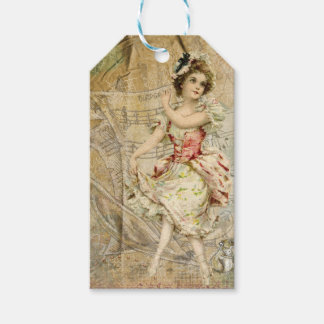 Victorian Dancing Girl Sheet Music Gift Tags