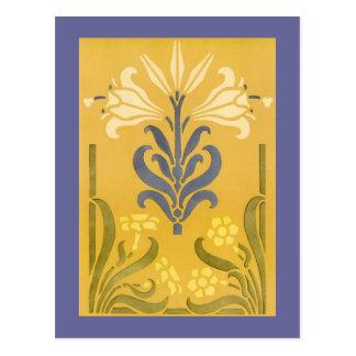Victorian Floral Stencil Design Postcard