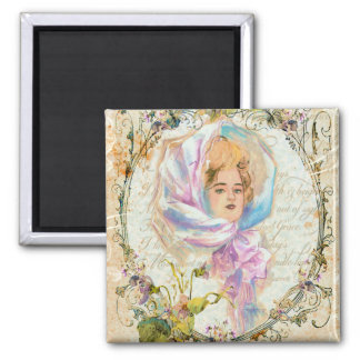VICTORIAN GIRL HARRISON FISHER STYLE PRINT cropped Square Magnet