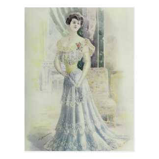 Victorian Lad –Vintage French Fashion – Aqua Dress Postcard