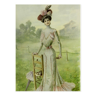 Victorian Lady–Vintage French Fashion–Green Dress Postcard