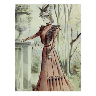 Victorian Lady–Vintage French Fashion–Peach Dress Postcard