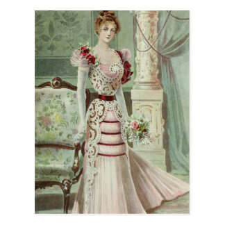 Victorian Lady–Vintage French Fashion –Pink Dress Postcard
