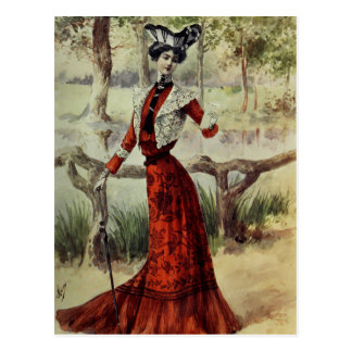 Victorian Lady – Vintage French Fashion –Red Dress Postcard